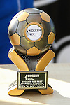 London, UK on Sunday 31st August, 2014. Soccer Six 'Star Player' trophy during the Soccer Six charity celebrity football tournament at Mile End Stadium, London.