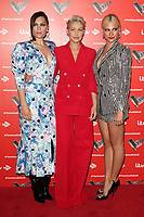 Jessie J, Emma Willis and Pixie Lott at the Voice Kids UK 2019 Photocall held at The Royal Society of Arts, London on June 6th 2019<br /> CAP/ROS<br /> ©ROS/Capital Pictures