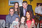 Proud parents Eddie Quinn and Charlotte Fitzgerald from Moyvane with new son Davin who was christened last Saturday, pictured her with sister Kayligh and godparents Sharon Quinn and Eugene Sweeney for family celebrations in The Gables, Athea.