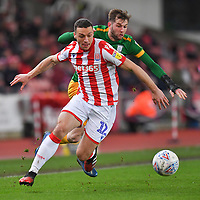 Preston North End's Tom Barkhuizen battles with Stoke City's James Chester<br /> <br /> Photographer Dave Howarth/CameraSport<br /> <br /> The EFL Sky Bet Championship - Stoke City v Preston North End - Wednesday 12th February 2020 - bet365 Stadium - Stoke-on-Trent <br /> <br /> World Copyright © 2020 CameraSport. All rights reserved. 43 Linden Ave. Countesthorpe. Leicester. England. LE8 5PG - Tel: +44 (0) 116 277 4147 - admin@camerasport.com - www.camerasport.com