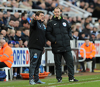 Newcastle United head coach John Carver protests to the fourth official Robert Madley