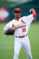 Springfield Cardinals Magneuris Sierra (29) warms up before a game against the Corpus Christi Hooks on May 31, 2017 at Hammons Field in Springfield, Missouri.  Springfield defeated Corpus Christi 5-4.  (Mike Janes/Four Seam Images)