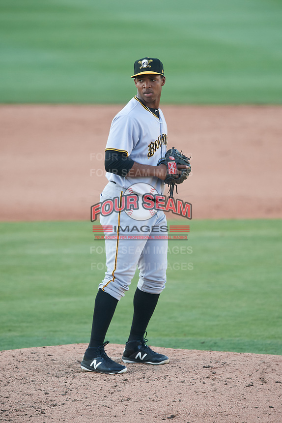 Bradenton Marauders relief pitcher Ronny Agustin (45) gets ready to deliver a pitch during the first game of a doubleheader against the Lakeland Flying Tigers on April 11, 2018 at Publix Field at Joker Marchant Stadium in Lakeland, Florida.  Lakeland defeated Bradenton 5-4.  (Mike Janes/Four Seam Images)