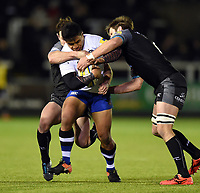 Ben Tapuai of Bath Rugby takes on the Newcastle Falcons defence. Aviva Premiership match, between Newcastle Falcons and Bath Rugby on February 16, 2018 at Kingston Park in Newcastle upon Tyne, England. Photo by: Patrick Khachfe / Onside Images