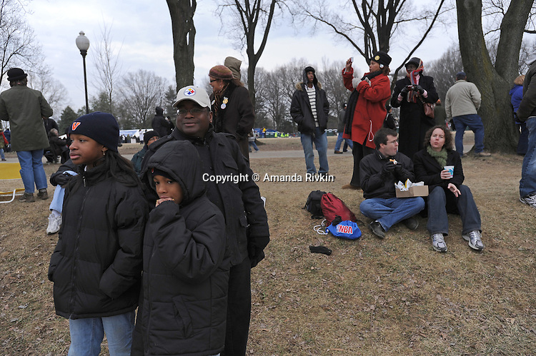 "Crowds gather for the ""We Are One"" concert in celebration of Barack Obama's inauguration as president of the United States at the Lincoln Memorial in Washington DC on January 18, 2009."