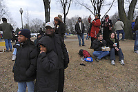 """Crowds gather for the """"We Are One"""" concert in celebration of Barack Obama's inauguration as president of the United States at the Lincoln Memorial in Washington DC on January 18, 2009."""