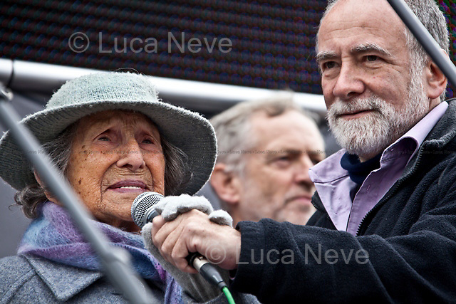 Hetty Bower (106-year-old anti-war campaigner).<br /> <br /> London, 08/10/2011. Today Trafalgar Square was the stage of the &quot;Antiwar Mass Assembly&quot; organised by The Stop The War Coalition to mark the 10th Anniversary of the invasion of Afghanistan. Thousands of people gathered in the square to listen to speeches given by journalists, activists, politicians, trade union leaders, MPs, ex-soldiers, relatives and parents of soldiers and civilians killed during the conflict, and to see the performances of actors, musicians, writers, filmmakers and artists. The speakers, among others, included: Jeremy Corbin, Joe Glenton, Seumas Milne, Brian Eno, Sukri Sultan and Shadia Edwards-Dashti, Hetty Bower, Mark Cambell, Sanum Ghafoor, Andrew Murray, Lauren Booth, Kate Hudson, Sami Ramadani, Yvone Ridley, Mark Rylance, Dave Randall, Roger Lloyd-Pack, Rebecca Thorn, Sanasino al Yemen, Elvis McGonagall, Lowkey (Kareem Dennis), Tony Benn, John Hilary, Bruce Kent, John Pilger, Billy Hayes, Alison Louise Kennedy, Joan Humpheries, Jemima Khan, Julian Assange, Lindsey German, George Galloway. At the end of the speeches a group of protesters marched toward Downing Street where after a peaceful occupation the police made some arrests.