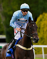 Lucky Esteem ridden by Jamie Spencer goes down to the start of the Sorvio Insurance Maiden Fillies' Stakes, during Afternoon Racing at Salisbury Racecourse on 7th August 2017