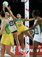 27.08.2016 South Africa's Lenize Potgieter and Australia's Kristiana Manu'a in action during the Netball Quad Series match between South Africa and Australia at Vector Arena in Auckland. Mandatory Photo Credit ©Michael Bradley.