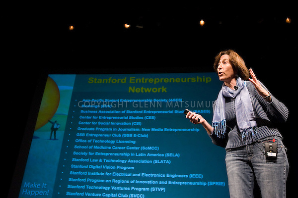 Stanford Entrepreneurship Week. Kick off, premiere of Imagine It!. Stanford Memorial Auditorium. Shots of groups forming.