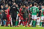 01.12.2018, Weserstadion, Bremen, GER, 1.FBL, Werder Bremen vs FC Bayern Muenchen<br /> <br /> DFL REGULATIONS PROHIBIT ANY USE OF PHOTOGRAPHS AS IMAGE SEQUENCES AND/OR QUASI-VIDEO.<br /> <br /> im Bild / picture shows<br /> Serge Gnabry (FC Bayern Muenchen #22), Sebastian Langkamp (Werder Bremen #15) nach Spielende, <br /> <br /> Foto &copy; nordphoto / Ewert