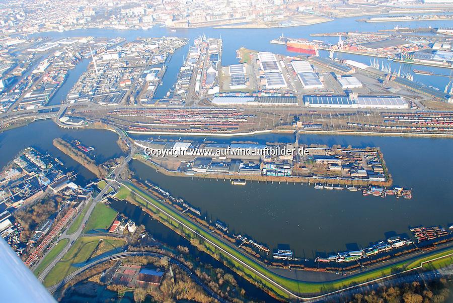4415/Hafenquerspange : EUROPA, DEUTSCHLAND, HAMBURG 25.12.2005: Bereich der Hafenquerspange, Spreehafen im Vordergrund , Blickrichtung Nord, Kluetjenfelder Hauptdeich