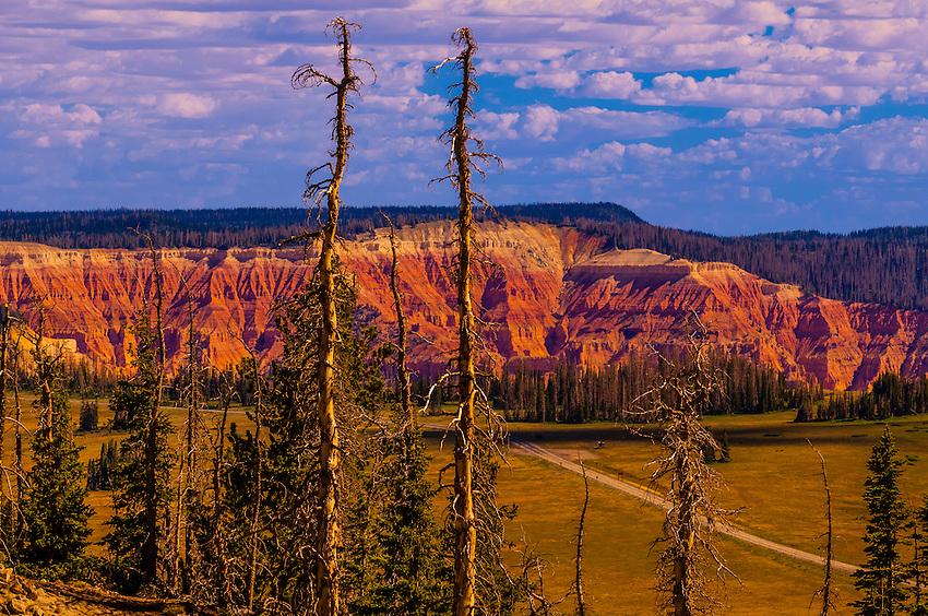 Views of cliffs of Cedar Breaks National Monument, seen from Brian Head ski area, near Cedar City, Utah, USA