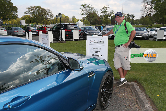 Thos Caffrey admire Rory McIlroy's car for the week during Monday's practice round ahead of the 2016 Dubai Duty Free Irish Open Hosted by The Rory Foundation which is played at the K Club Golf Resort, Straffan, Co. Kildare, Ireland. 16/05/2016. Picture Golffile | David Lloyd.<br /> <br /> All photo usage must display a mandatory copyright credit as: &copy; Golffile | David Lloyd.