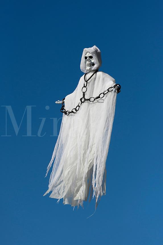 Skeleton spirit figure floating in the sky.