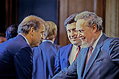 Judge Robert H. Bork, United States President Ronald Reagan's nominee for Associate Justice of the U.S. Supreme Court, shares a moment with U.S. Senate Judiciary Committee Chairman Joseph Biden (Democrat of Delaware) prior to another day of his confirmation hearing on September 17, 1987.  Bork passed away on December 19, 2012..Credit: Howard L. Sachs / CNP