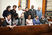 Members of Sustaining OurSelves; (from left to right, front row), Monica Palmeira, C.J. Suitt, Della Pollock, Regina Merritt, Gladys Pendergraph, Rob Stephens.(Second row) Lauren Shor, Kathy Atwater, Alexander Stephens, Delores Bailey, Eugene Farrar, Hudson Vaughan, at St. Joseph CME Church in Chapel Hill, NC, Wednesday, January 9, 2012.  Sustaining OurSelves is a coalition of long-time residents and community activist who seek to preserve and promote Chapel Hill's historically african-american working class neighborhoods.