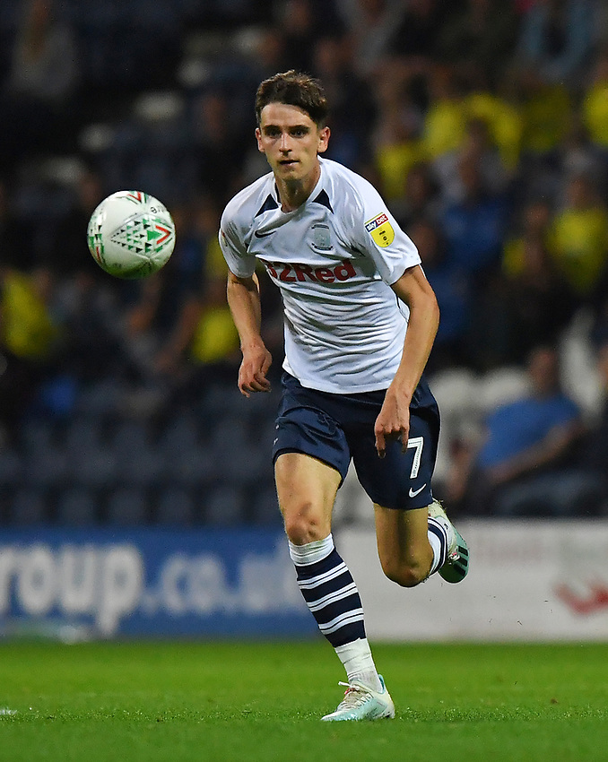Preston North End's Tom Bayliss<br /> <br /> Photographer Dave Howarth/CameraSport<br /> <br /> The Carabao Cup Second Round - Preston North End v Hull City - Tuesday 27th August 2019  - Deepdale Stadium - Preston<br />  <br /> World Copyright © 2019 CameraSport. All rights reserved. 43 Linden Ave. Countesthorpe. Leicester. England. LE8 5PG - Tel: +44 (0) 116 277 4147 - admin@camerasport.com - www.camerasport.com