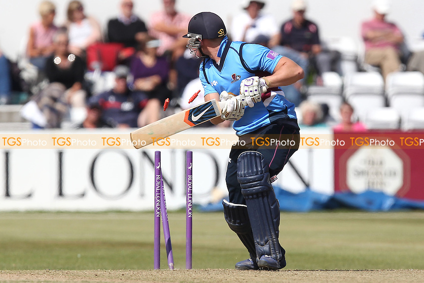 Rob Keogh of Northants is bowled out by Reece Topley - Northamptonshire Steelbacks vs Essex Eagles - Royal London One-Day Cup at the County Ground, Northampton - 21/08/14 - MANDATORY CREDIT: Gavin Ellis/TGSPHOTO - Self billing applies where appropriate - contact@tgsphoto.co.uk - NO UNPAID USE