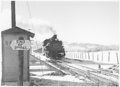 D&amp;RGW #492 with westbound Monarch Branch limestone arriving at Salida.<br /> D&amp;RGW  Salida, CO  Taken by Richardson, Robert W. - 1/7/1949