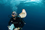 Andy Dunstan diving with chambered nautilus specimen