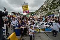 A convoy of around 200 vehicles carrying aid for the Calais refugee camp rallied at Whitehall before heading to Dover. At the port police stopped the vehicles from boardin gtheir ferry after requests from the french government. There were scuffles with police but no arrests. 18-6-16