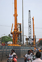 Construction site by the road in Madras, India