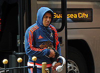 Jefferson Montero of Swansea City arrives at the Stadium of Light before kick off during the Barclays Premier League match between Sunderland and Swansea City played at Stadium of Light, Sunderland