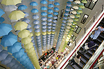 June 21, 2010 - Tokyo, Japan - About 400 umbrellas that are hung from the ceiling are pictured during the 'hyakusankai' exhibition at Matsuya department store in Ginza district, Tokyo, Japan, on June 21, 2010. About 3,000 umbrellas, raincoats and rain boots are collected for the event that began half a century ago and run this year from June 2 until June 25.