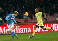 Napoli's Ivan Stric and Jonathan Biabiany  during the Quartef-final of Tim Cup soccer match,between SSC Napoli and vFC Inter    at  the San  Paolo   stadium in Naples  Italy , January 19, 2016
