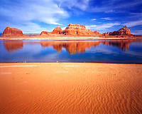 Lake Powell Beach and Buttes  Glen Canyon National Recreation Area, Utah  Lake Powell  Padre, Domiquez, Boundary Buttes