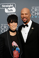Diane Warren and Common attend the 23rd Annual Critics' Choice Awards at Barker Hangar in Santa Monica, Los Angeles, USA, on 11 January 2018. Photo: Hubert Boesl - NO WIRE SERVICE - Photo: Hubert Boesl/dpa /MediaPunch ***FOR USA ONLY***