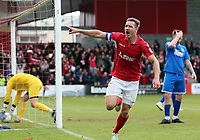 Dave Winfield of Ebbsfleet United celebrates scoring the opening Ebbsfleet goal during Ebbsfleet United vs Chelmsford City, Vanarama National League South Play-Off Final Football at The PHB Stadium on 13th May 2017