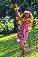 Polynesian woman dancing hula