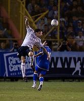 Danny Califf heads the ball during FIFA World Cup qualifier against El Salvador. USA tied El Salvador 2-2 at Estadio Cuscatlán Stadium in El Salvador on March 28, 2009.