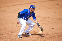 Biloxi Shuckers third baseman Brandon Macias (27) during a game against the Birmingham Barons on May 24, 2015 at Joe Davis Stadium in Huntsville, Alabama.  Birmingham defeated Biloxi 6-4 as the Shuckers are playing all games on the road, or neutral sites like their former home in Huntsville, until the teams new stadium is completed in early June.  (Mike Janes/Four Seam Images)