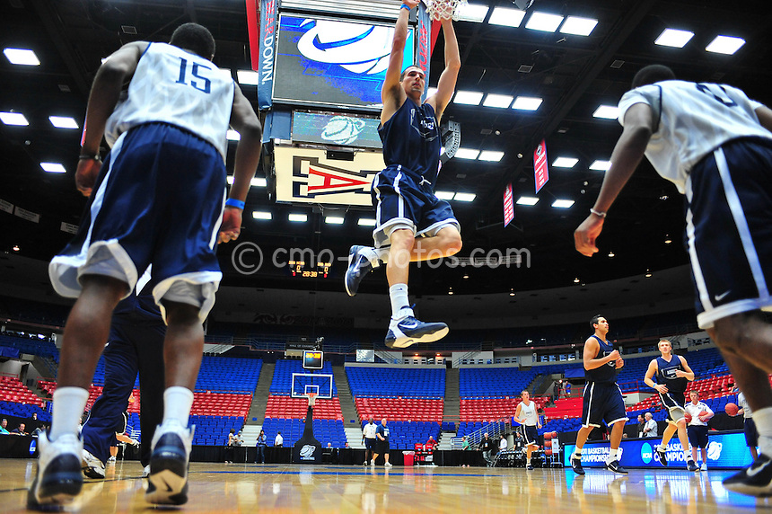 Mar 16, 2011; Tucson, AZ, USA; Utah State Aggies players practice the day before the second round of the 2011 NCAA men's basketball tournament at the McKale Center.