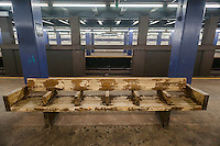 A distressed bench in the Second Avenue station in the New York subway on Saturday, September 27, 2014. (© Richard B. Levine)