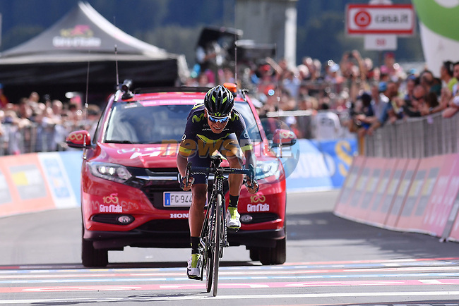 Nairo Quintana (COL) Movistar Team finishes in 3rd place at the end of Stage 16 of the 100th edition of the Giro d'Italia 2017, running 222km from Rovetta to Bormio, Italy. 23rd May 2017.<br /> Picture: LaPresse/Gian Mattia D'Alberto | Cyclefile<br /> <br /> <br /> All photos usage must carry mandatory copyright credit (&copy; Cyclefile | LaPresse/Gian Mattia D'Alberto)