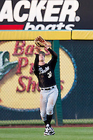 Stephen Talbott (36) of the Purdue Boilermakers catches a ball hit to left field during a game against the Missouri State Bears at Hammons Field on March 13, 2012 in Springfield, Missouri. (David Welker / Four Seam Images)