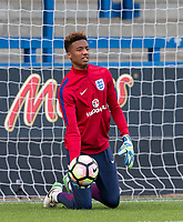 Goalkeeper Nathan Trott (West Ham United) of England U20 warms up ahead of the International friendly match between England U20 and Netherlands U20 at New Bucks Head, Telford, England on 31 August 2017. Photo by Andy Rowland.