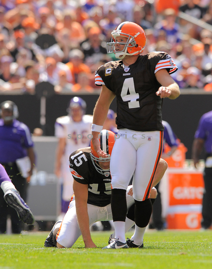 PHIL DAWSON,  of the Cleveland Browns  in action  during the Browns game against the Minnesota VIkings in Clevedland, OH on September 13, 2009.The  Vikings beat the Browns  34-20...SportPics..