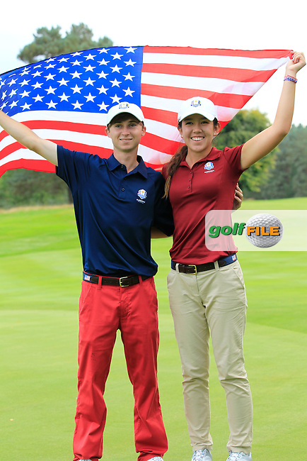 Austin Connelly  &amp; Hannah O'Sullivan(USA) on the 18th green in the Mixed Fourballs during the 2014 JUNIOR RYDER CUP at the Blairgowrie Golf Club, Perthshire, Scotland. <br /> Picture:  Thos Caffrey / www.golffile.ie