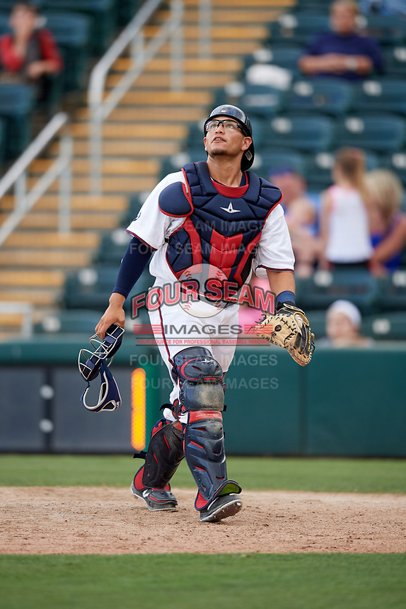 Fort Myers Miracle catcher Kevin Garcia (26) tracks a pop up during a game against the Jupiter Hammerheads on April 9, 2017 at CenturyLink Sports Complex in Fort Myers, Florida.  Jupiter defeated Fort Myers 3-2.  (Mike Janes/Four Seam Images)