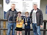 Ardee Celtic's U-10 players of the year  Sam Scott and Jonah Scally with U-10 coaches Kevin Scott and David Ring. Photo:Colin Bell/pressphotos.ie