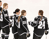 Lauren Klein (PC - 24) joins fellow starters Cassidy Carels (PC - 29), Brooke Boquist (PC - 19) and Christina Putigna (PC - 21) on the blue line. - The Boston College Eagles defeated the visiting Providence College Friars 7-1 on Friday, February 19, 2016, at Kelley Rink in Conte Forum in Boston, Massachusetts.
