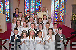 Children from Firies National School on Saturday with their Teacher Eva Ryan and Fr Noel Spring after their Holy Communion in The Church of St Gertrude, Firies. .   Copyright Kerry's Eye 2008