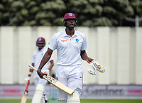 Windies captain Jason Holder walks off after his dismissal on day four of the international cricket test between the NZ Black Caps and the West Indies at the Hawkins Basin Reserve in Wellington, New Zealand on Monday, 4 December 2017. Photo: Dave Lintott / lintottphoto.co.nz