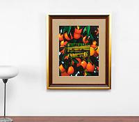 "Preston: Oranges with Landscape, Digital Print, Image Dims. 16"" x 20.5"", Framed Dims. 30.5"" x 25.5"""