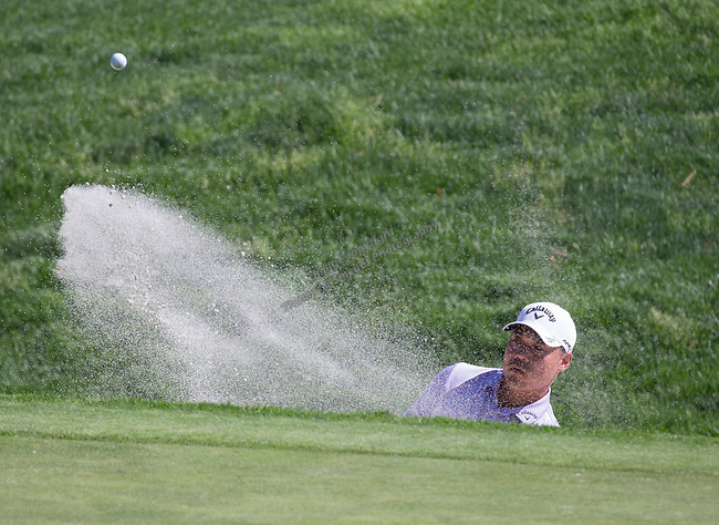 John Chin hit out of a trap on the 2nd hole during the Barracuda Championship PGA golf tournament at Montrêux Golf and Country Club in Reno, Nevada on Saturday, July 27, 2019.